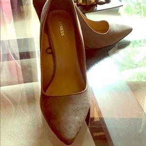 Grey express high heel wedge shoes